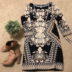 HAANI Black Patterned Dress NWT